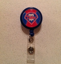 Mlb Phillies Badge Reel Id Holder blue alligator clip handmade new - $6.95