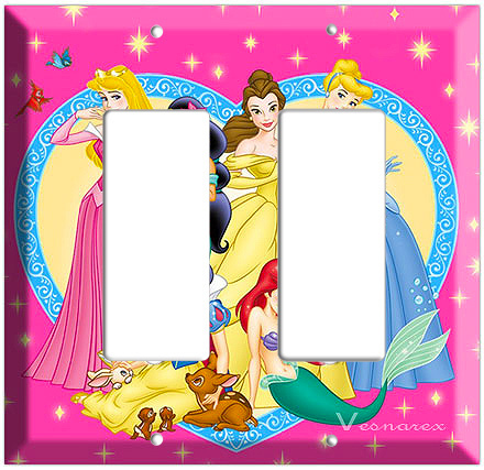 DISNEY PRINCESS AURORA CINDERELLA JASMINE DOUBLE DECORA LIGHT SWITCH COVER PLATE