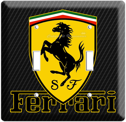 FERRARI EMBLEM LOGO CARBON FIBER SCUDERIA SHIELD DOUBLE LIGHT SWITCH PLATE COVER