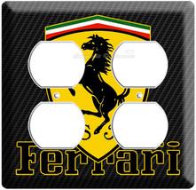 Ferrari Emblem Logo Carbon Fiber Scuderia Shield Power 4 Outlet Wall Plate Cover - $9.99