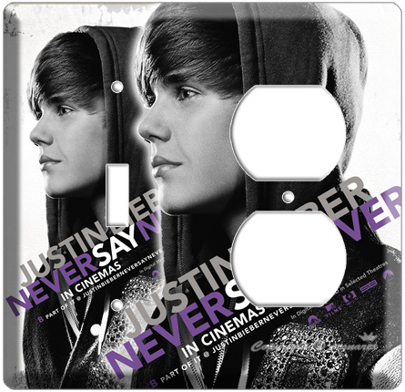 JUSTIN BIEBER SINGER NEVER SAY 3D MOVIE POSTER SINGLE LIGHT SWITCH OUTLET COMBO