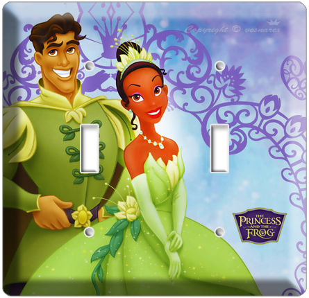 PRINCESS TIANA AND PRINCE NAVEEN THE FROG DISNEY DOUBLE LIGHT SWITCH COVER PLATE