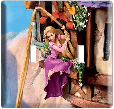 RAPUNZEL & PASCAL LONG HAIR TOWER ESCAPE TANGLED MOVIE DOUBLE LIGHT SWITCH PLATE
