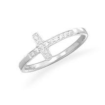 Sterling Silver Ring with Sideways CZ Cross - $43.95