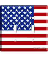 USA AMERICAN PATRIOTIC STARS AND STRIPES FLAG DOUBLE LIGHT SWITCH COVER PLATE US - $11.99