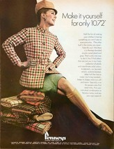 1968 Penney's Fabrics Print Ad Fun of Making Your Own Clothes Acrylic Pl... - $11.89