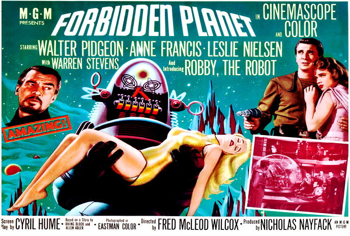 Forbidden Planet Poster 24x36 Robby the Robot Horizontal Rare Sci-Fi Classic