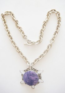 "HUGE PURPLE MEXICO PENDANT THICK HEAVY ANCHOR LINK CHAIN 19 1/8"" NECKLACE 4 OZ"