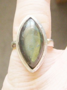 LARGE NICE SOLID STERLING SILVER LABRADORITE RING SIZE 7 1/2 BEAUTIFUL FANCY NEW