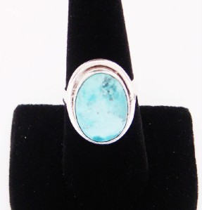 LARGE NICE SOLID STERLING SILVER TIBET TURQUOISE RING SIZE 7.75 BEAUTIFUL CLASSY