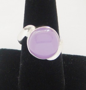 NEW BIG SOLID STERLING SILVER LAVENDER CHALCEDONY RING SIZE 6 3/4