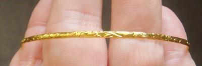 NEW LADIES 24K GOLD FILLED FANCY BANGLE BRACELET NICE