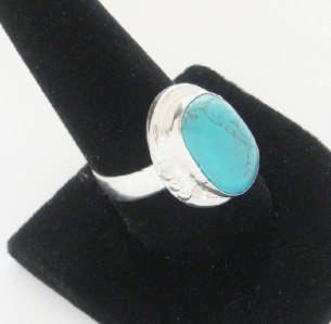 NEW LADIES SOLID STERLING SILVER TIBET TURQUOISE RING SIZE 9.75 BEAUTIFUL CLASSY