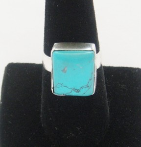 NEW LARGE SOLID STERLING SILVER TIBET TURQUOISE RING SIZE 7 3/4