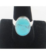 NEW LARGE SOLID STERLING SILVER TIBET TURQUOISE RING SIZE 9 1/2 - $19.95