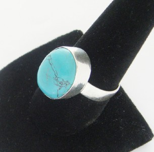 NEW LARGE SOLID STERLING SILVER TIBET TURQUOISE RING SIZE 9 1/2