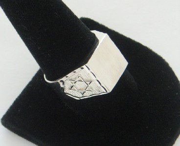 NEW MEN'S HEXAGRAM STERLING SILVER RING SIZE 11 1/4 INITIAL RING STAR OF DAVID