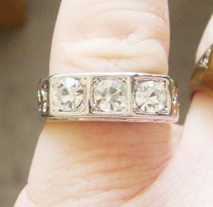 NEW OLD STOCK MEN'S 3 RHINESTONE BIKER RING HIP HOP BLING  SIZE 7.25 HANDSOME