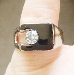 NEW OLD STOCK MEN'S RHINESTONE BLACK ENAMEL BIKER RING HIP HOP BLING SIZE 7.25