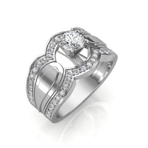 0.65 Carat Round Cut Diamond Designer Engagement Ring In 14K White Gold - $1,010.58