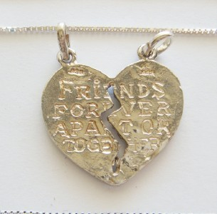 NEW STERLING SILVER BEST FRIENDS HEART PENDANT 2 CHAINS