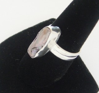 NEW STERLING SILVER EXOTIC CHOCOLATE TAHITIAN BAROQUE PEARL RING SIZE 8 1/4 NICE