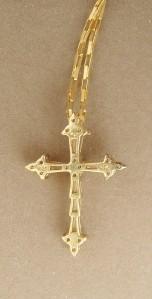 NEW STERLING SILVER VERMEIL CZ CHRISTIAN CROSS PENDANT CHOKER NECKLACE PRETTY