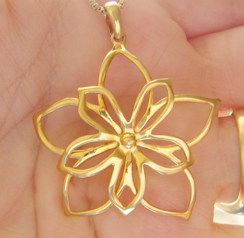 NEW STERLING SILVER VERMEIL LARGE FLOWER PENDANT CHOKER NECKLACE VERY NICE