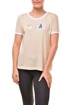 Wildfox Da Donna Ooh Lala Johnny Ringer WTJ188 61U T-Shirt GSWN Beige Ta... - $72.77