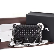 AUTHENTIC CHANEL BLACK LAMBSKIN QUILTED JUMBO DOUBLE FLAP BAG SILVER HARDWARE image 2