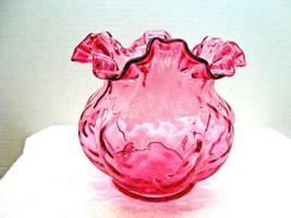 Fenton ruby overlay flared double crimped vase, circa 1942-1949. - $14.85