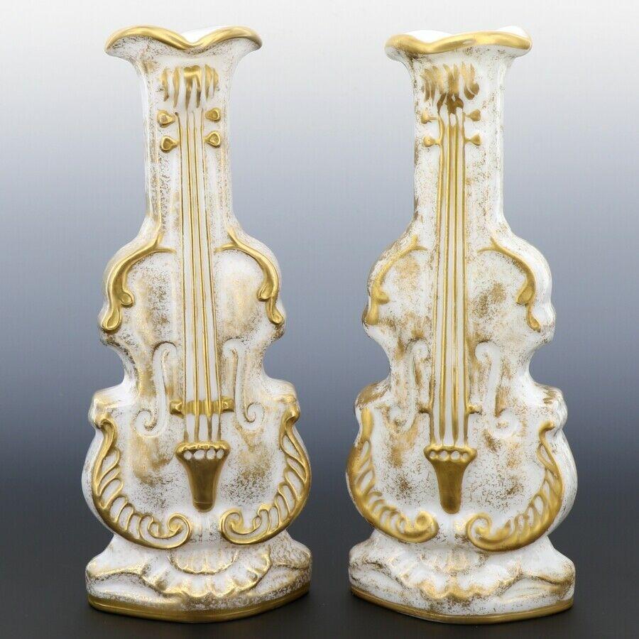 Pair Imperial Milk Glass Violin Vases with Heavy Gold Decor 40s/50s era IG Mark