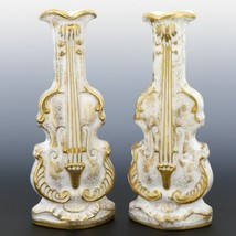 Pair Imperial Milk Glass Violin Vases with Heavy Gold Decor 40s/50s era IG Mark