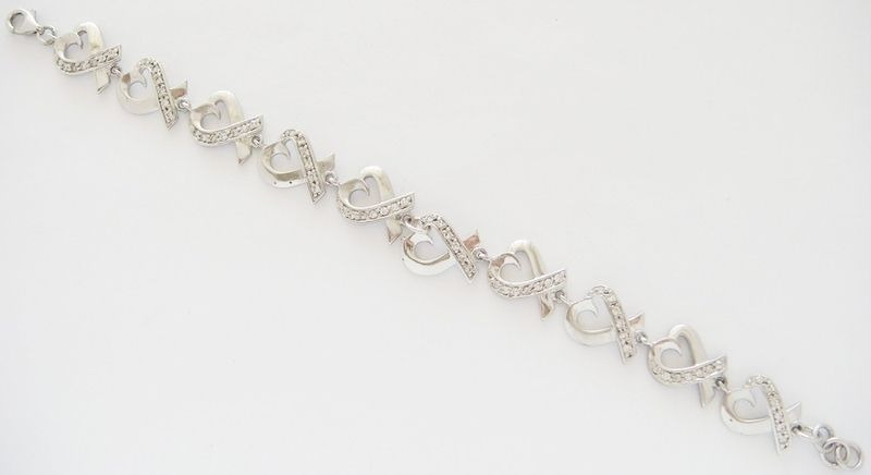 "STERLING SILVER CZ HEART BRACELET 7 1/4"" INCHES LONG"