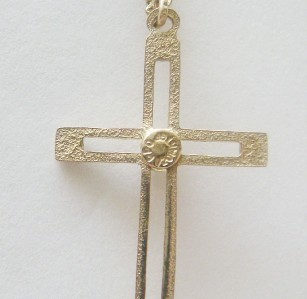 "VINTAGE 14K GOLD FILLED CZ CHRISTIAN CROSS PENDANT KREMENTZ 18 1/2"" CHAIN NICE"