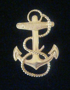 VINTAGE LARGE 10K GOLD FILED CHIEF PETTY OFFICER CAP BADGE VERY NICE
