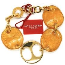 Bracelet Antica Murrina Venezia, Glass Murano, Discs Wavy, Leaf Golden image 2