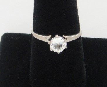VINTAGE STERLING SILVER CLEAR STONE SOLITAIRE ENGAGEMENT RING PROMISE RING