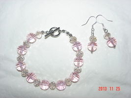 Pink & Clear Glass Bracelet & Earring Set - for the Little Princess in y... - $16.99