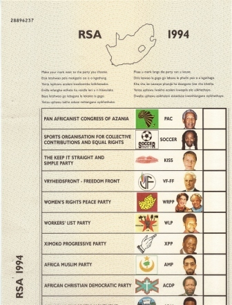 Authentic South African Ballot