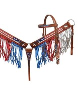 WESTERN SADDLE HORSE BLING ! BRIDLE +  B C IN RED WHITE BLUE STARS & STR... - $98.80
