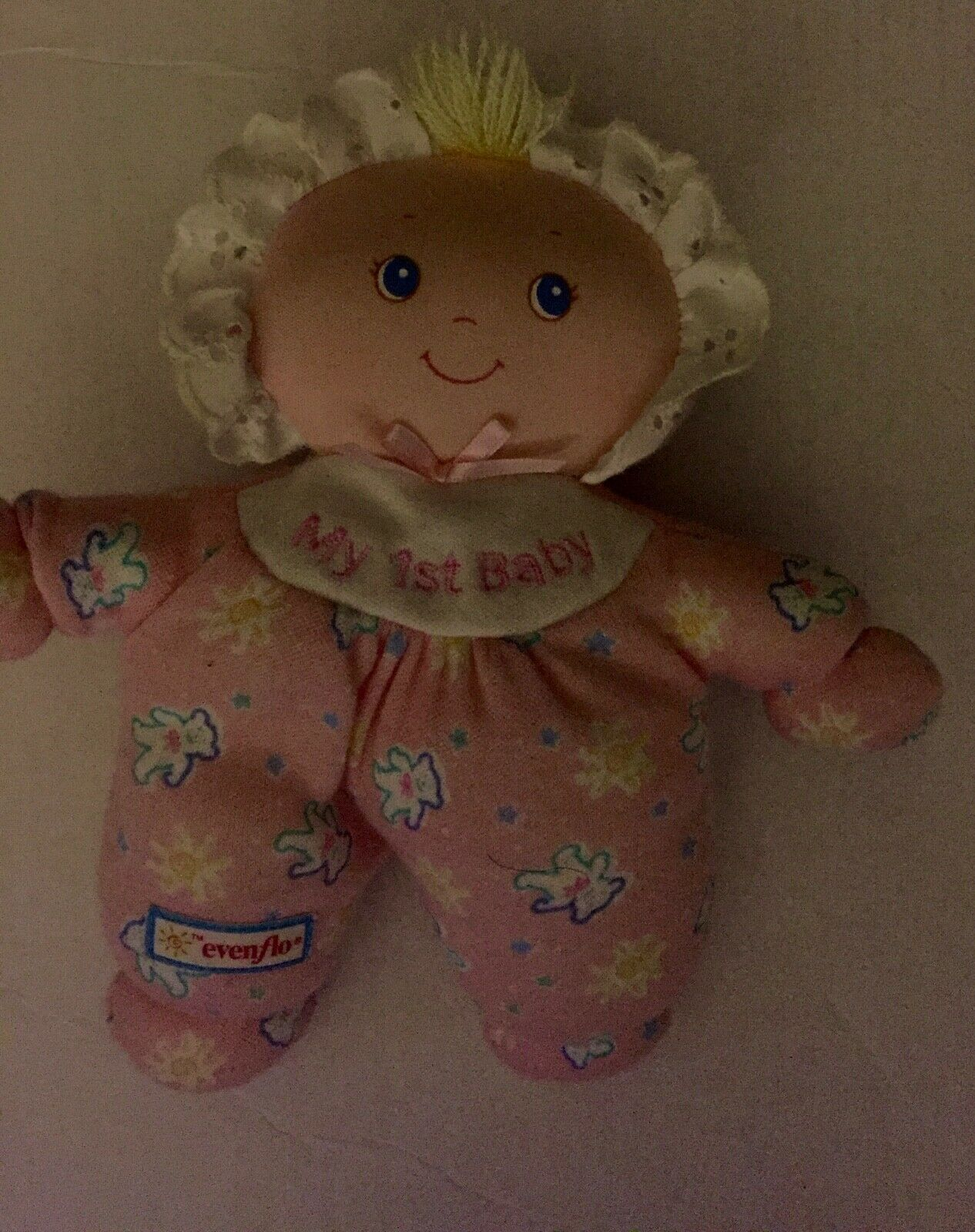 Evenflo My 1st baby soft doll in Pink teddy bear and flower outfit eyelet Bonnet - $29.69