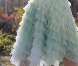 Mint Short Tiered Tulle Skirt Plus Size Knee Length Tulle Skirt Holiday Outfit image 2