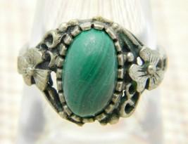 Green Malachite Silver Tone Art Nouveau Style Floral Ring Size 6.5 Vintage - $29.69