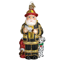 Old World Christmas Santa In Black Firefighter Suit Glass Ornament 40109 - $17.88