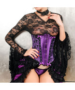Elegant Purple and Black Satin Floral Underbust... - $30.99