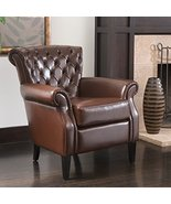 ModHaus Mid Century Style Brown Leather Button-tufted Upholstered Accent... - $287.84
