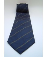 Blue Striped Jsaco Neck Tie Navy MADE IN ITALY 100% Silk - $14.82