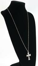 Vintage .925 Sterling Silver Long Etched Cross Pendant Singapore Necklac... - $22.49