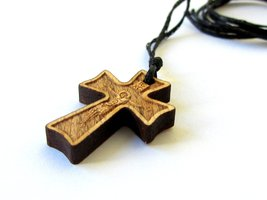 Christian Orthodox Greek Religious Pendant Necklace with Wood Cross / 42 - $12.38